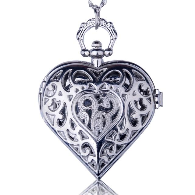 Fashion Silver Bronze Hollow Quartz Heart-shaped Pocket Watch Necklace Pendant W
