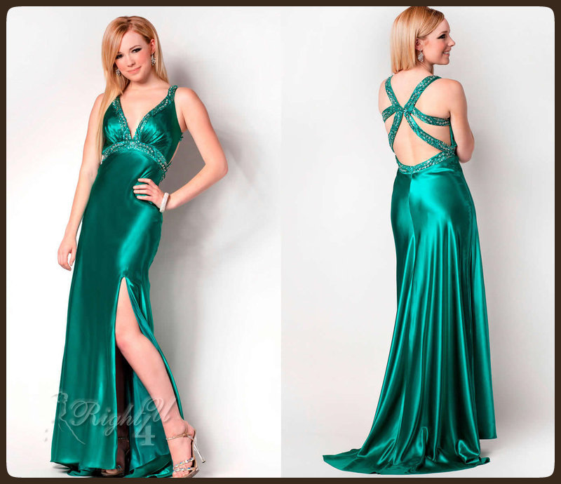 RT11388 Satin Green Beaded Deep V Neck Front Open Naked Back Empire ...