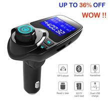 цена на Car Mp3 Player Wireless Bluetooth Fm Transmitter FM Modulator HandsFree Car Kit A2DP 5V 2.1A USB Charger for iPhone Samsung T11