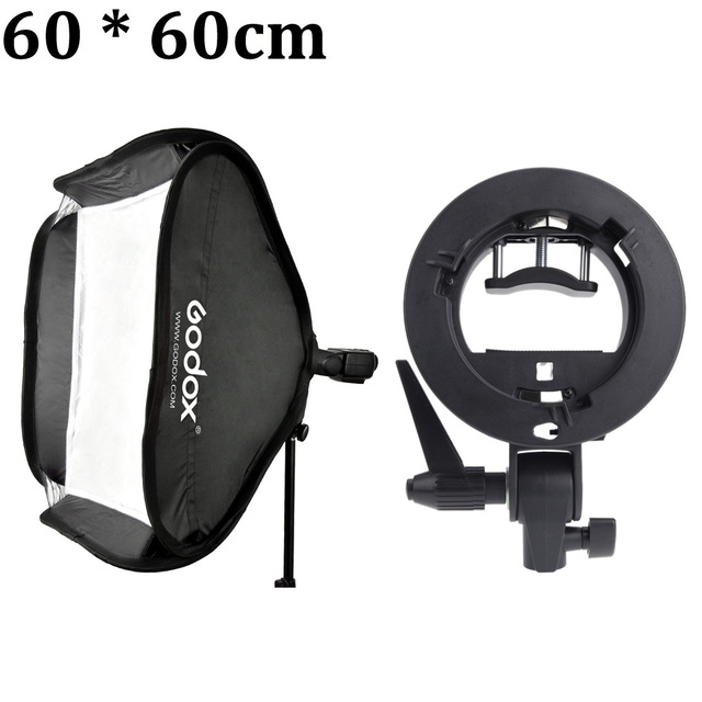 """Godox 60*60 centímetros/24 """"* 24"""" Difusor de Flash Estúdio Fotográfico Softbox com S-tipo Bowens Suporte Suporte para Speedlite Flash Light"""