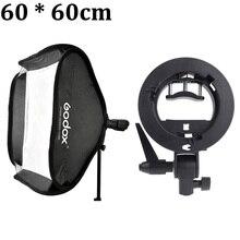 Godox 60×60 см 24*24 см Softbox Комплект Рассеиватель + S-type Кронштейн Bowens Держатель + Сумка Комплект для Вспышки speedlite свет