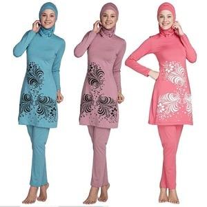 Image 2 - HAOFAN 2018 בתוספת גודל בגדי ים מוסלמיים נשים צנוע פרחוני הדפסת מלא כיסוי בגד ים אסלאמי חיג אב האיסלאם Burkinis וחוף אמבט