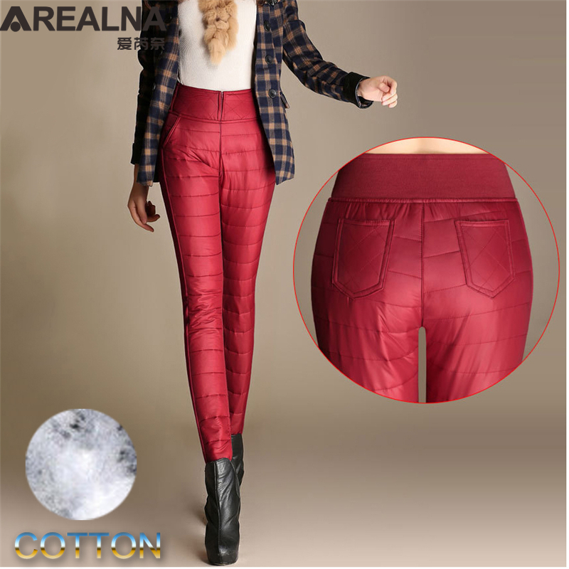 Capris   Down   Pants   Woman Winter High Waist Skinny Warm Formal   Pants   Female Black Red Elastic Waist Work Trousers Women Plus Size