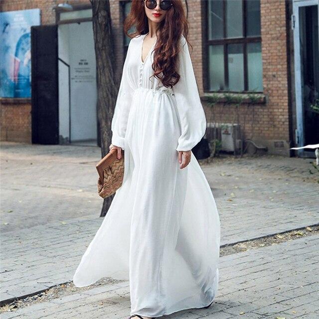 eab214e959b8 2018 New Summer Women's Floor-Length Maxi Chiffon Dress Beach Dresses Long  Sleeve Female Elegant