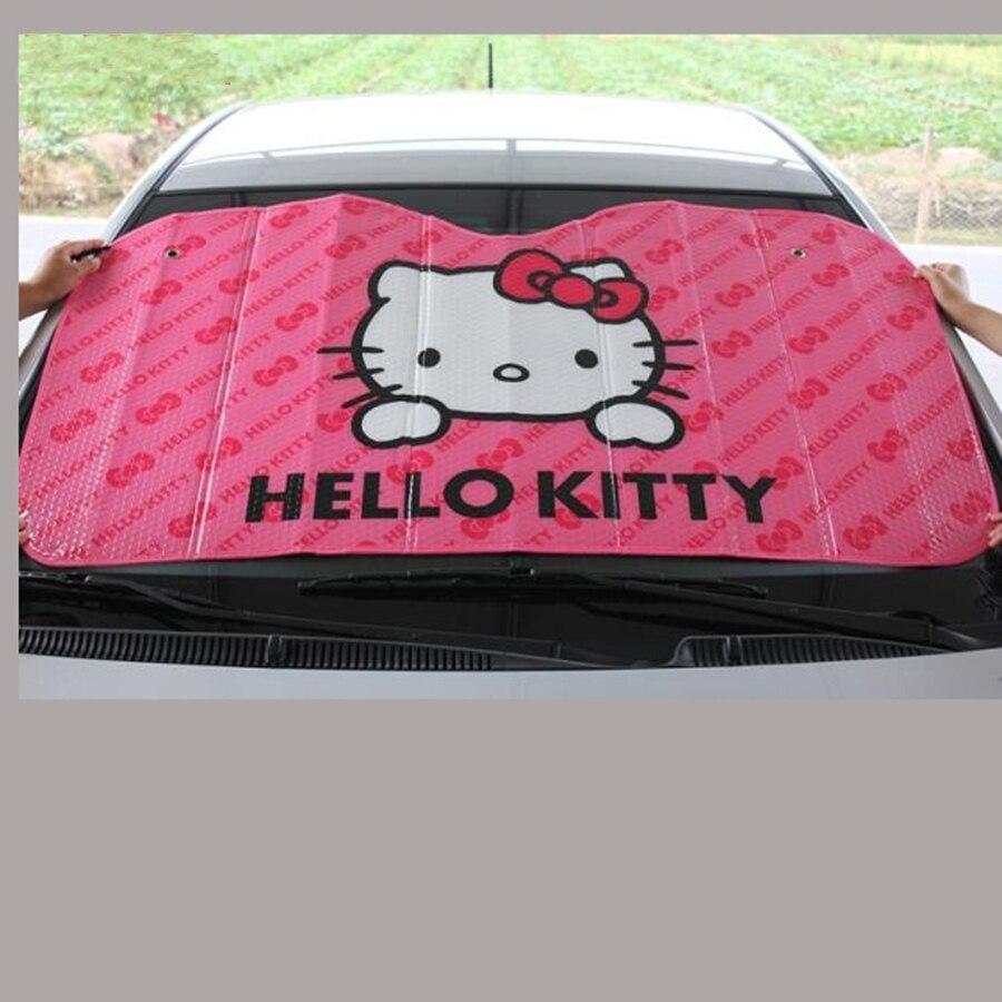 KKYSYELVA Bonjour Kitty MIGNON en aluminium feuille De Voiture Pare-Brise Réfléchissant Pare-Soleil Pliable Avant pare-brise ombre solaire parasol