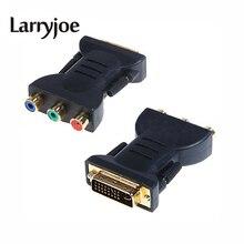 Larryjoe adaptateur DVI plaqué or DVI I 24 + 5 mâle à 3 RCA composant adaptateur daffichage PC HDTV connecteurs de projecteur