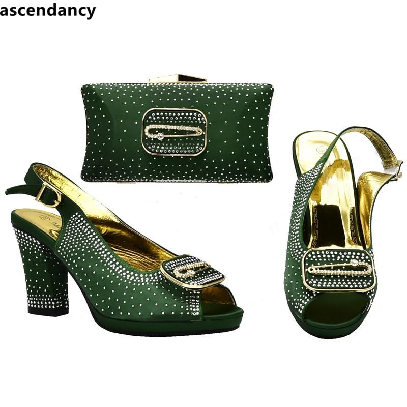 Boda Y En Para rojo Mujeres Bolso Zapatos Las Bolsa Negro verde azul amarillo Diamantes Damas Italiano Parte Zapato Decorado Con La Imitación De qT6PE6wSx