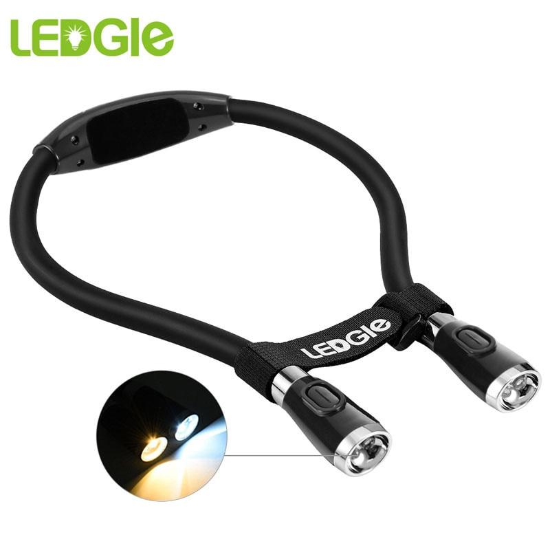 LEDGLE USB Freisprecheinrichtung Lesen Lampe Hals Buch Licht Wiederaufladbare LED Nacht Lichter 5V 4 Led Perlen 3 Einstellbar Auge schutz Lampe