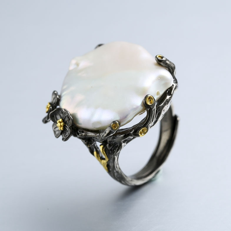 925 sterling silver 26mm Baroque pearl rings handmade vintage natural Baroque rings for women Baroque pearl