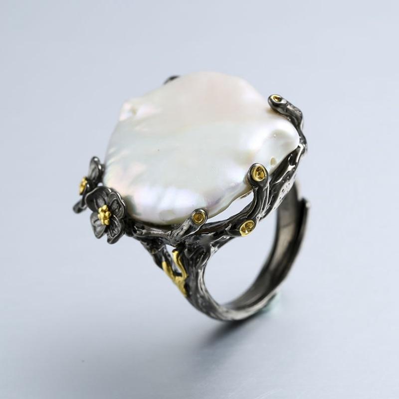 925 sterling silver 26 millimetri perla Barocca anelli fatti a mano vintage Barocco naturale anelli per le donne Barocco della perla dei monili di regalo di nozze-in Anelli da Gioielli e accessori su  Gruppo 1