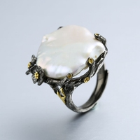 925 sterling silver 26mm Baroque pearl rings handmade vintage natural Baroque rings for women Baroque pearl jewelry wedding gift