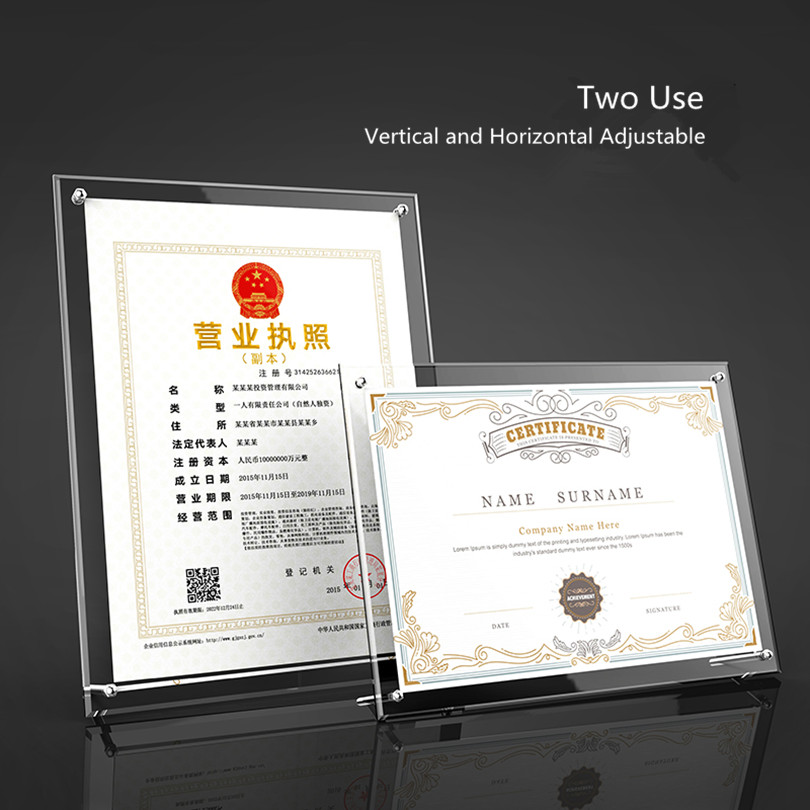 A4 Leaflets Menu Card Holder Stand Acrylic Tabletop Poster Product Name Sign Holder Stand Certificate Frame