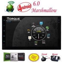 Front & Backup camera+Android 6.0 Double Din Car Stereo Radio GPS 2din Wifi OBD2 HD Mirror No-DVD in dash headunit car styling