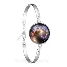 Galaxy Nebula Chain Bracelet Glass Cabochon Solar System Glass Dome Planet Universe Silver Plated Charm Bangle Gift(China)