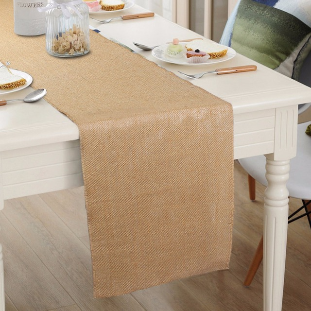 10pcs Burlap Table Runners For Wedding Decoration Natural Hessian Vintage  Runner Tablecloths Home Textiles