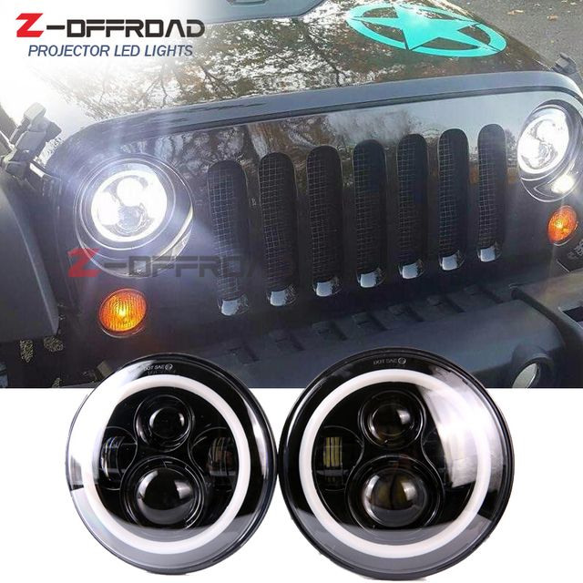 For Jeep Wrangler JK 2 Door playu0026plug 7  LED headlight Amssembly with Amber turn signal & For Jeep Wrangler JK 2 Door playu0026plug 7