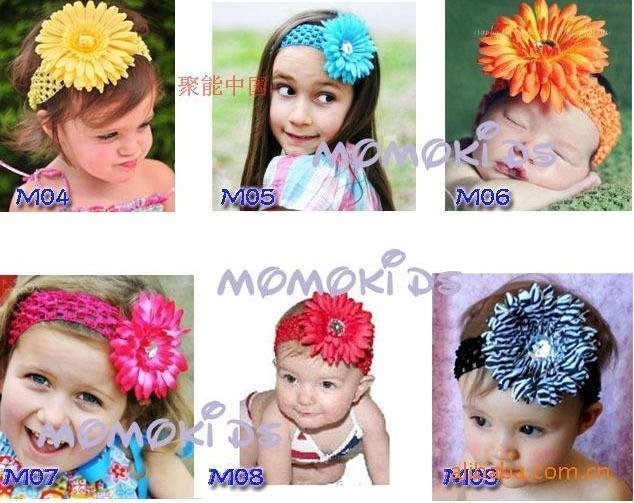 Free Shipping 120pcs Crochet Headbands + 120pcs Gerbera Daisy Flowers/Baby Hair Bows with Alligator Grip