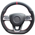 XuJi Black Genuine Leather Black Suede Steering Wheel Cover for Mercedes Benz C200 C250 C300 B250 B260 A200 A250 Sport CLA220