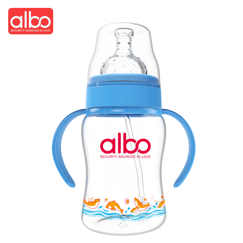 ALBO Hot Selling Cute 200ml Baby Feeding Bottle German Safety Raw Material Wide Mouth St ...
