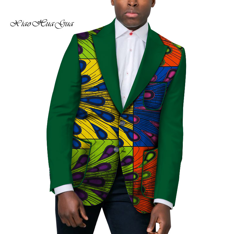 African Men Clothes Causal Men Suit Jacket Business Dashiki Party Wedding Top Blazer Africa Men Patckwork Blazer Clothing WYN526