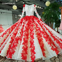 LS23189 red patterns of lace evening dress popular fashion ball gown latest designer party wear formal evening gown from china