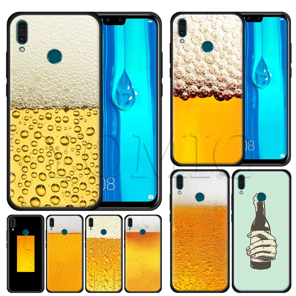 Summer Beer Bubble Bottle Black Case for Huawei Honor Y9 Y7 Y6 Y5 2019 Honor 20 Pro 10 20 Lite 8X V20 Silicone Case image