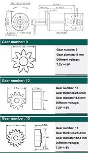 Image 2 - Factory direct HRS 550S 10.8 Voltage 9 Toothed Gear ( 8mm) DC motor of Electric drill
