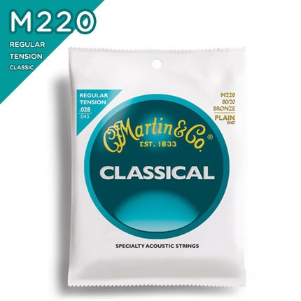 Martin M220 80/20 Bronze Plain-End Regular Tension Nylon Classic Guitar Strings 5 pcs alice normal high tension clear nylon classical guitar string normal tension silver plated copper wound strings