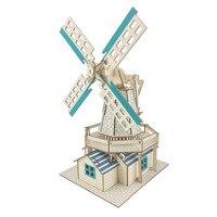 En bois 3D Bâtiment Modèle Puzzle Jouet Pont Moulin À Vent Puzzles Travail Manuel Assembler Jeu Monuments Célèbres Puzzles Cadeau pour Enfants