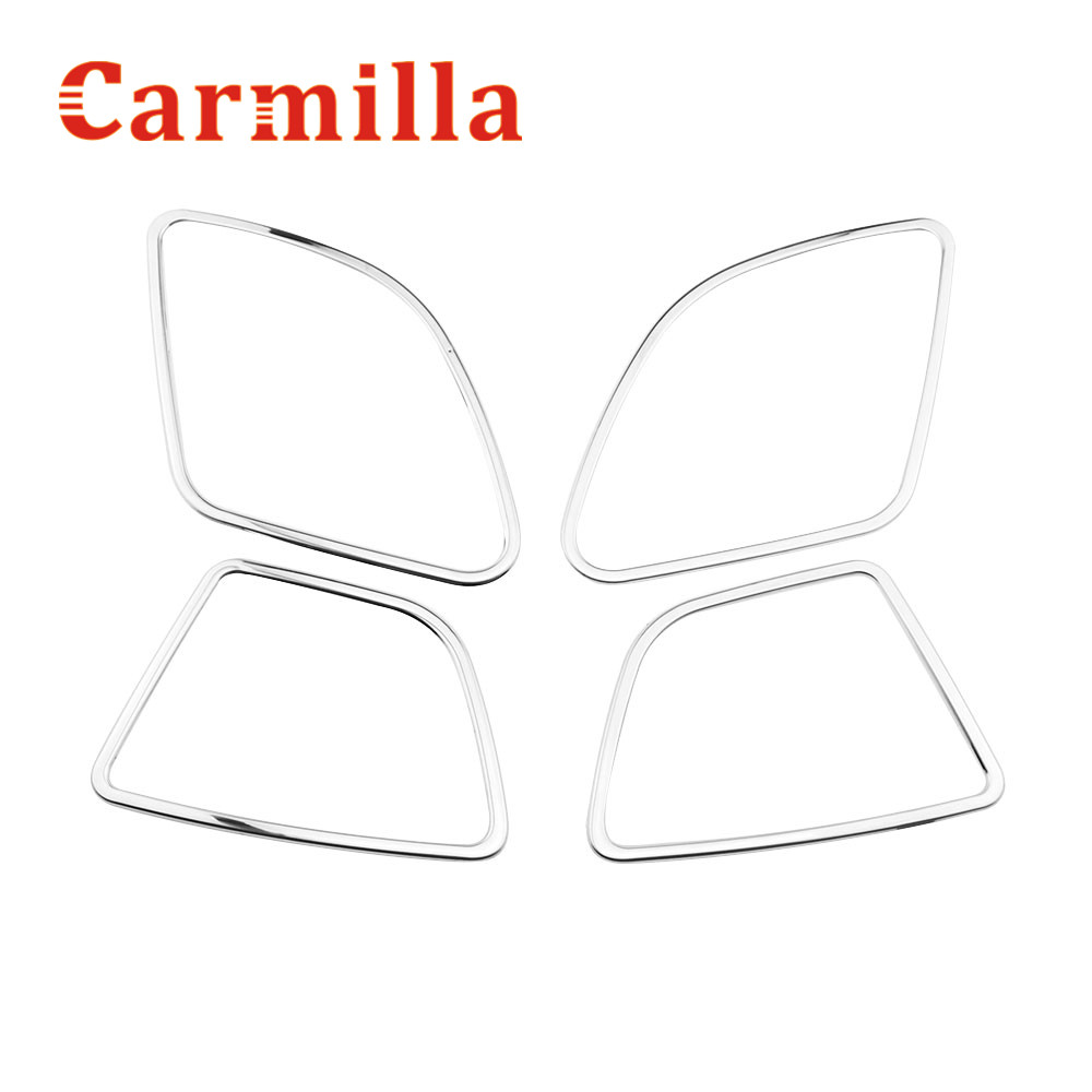 Carmilla Stainless Steel Car Door Horn Decoration Speaker Ring Trim Sequins Sticker for Ford New Fiesta MK7 2011 2012 2013 Acc. stainless steel strips for toyota highlander 2011 2012 2013 car styling full window trim decoration oem 16 8