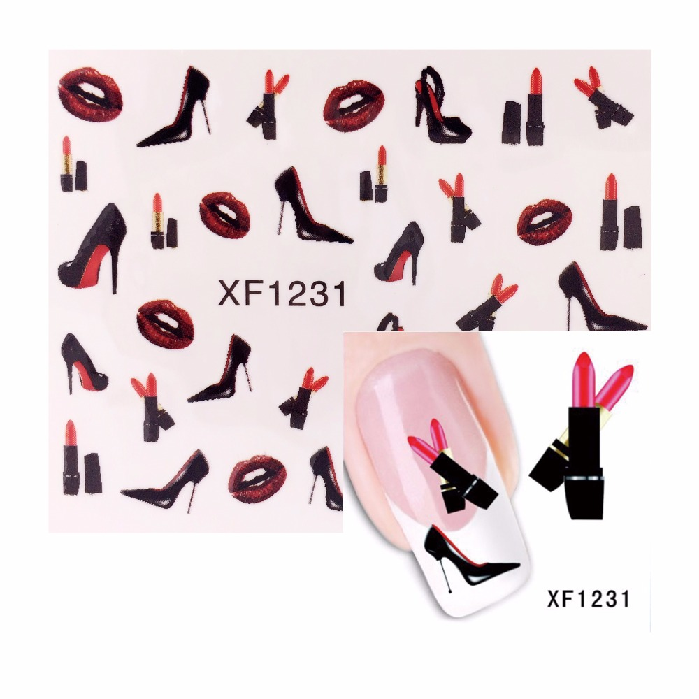 ZKO 1 Sheet Lipstick Designs Nail Art Water Decals Nails Transfer Stickers DIY 1231