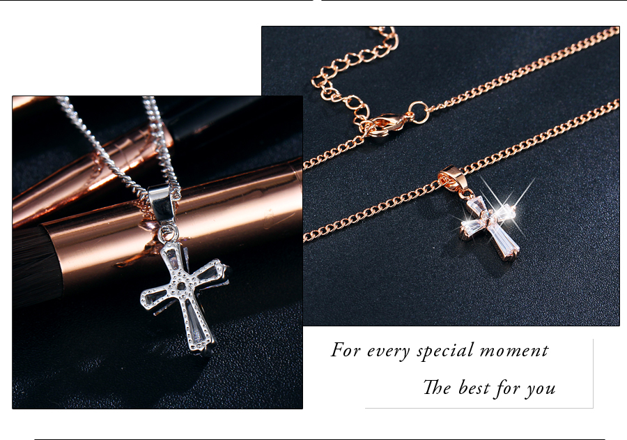 HTB1MX2SknqWBKNjSZFAq6ynSpXaX - 17KM Rose Gold Color Cross Pendant Necklaces For Woman Crystal Pendant Cubic Zirconia Long Necklace Bijoux Jewelry Wholesale