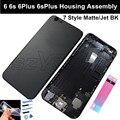 Mate negro asamblea de la cubierta para el iphone 6 6 s 6 plus 6 s plus volver tapa de la batería completa de vivienda como asamblea 7 estilo jet negro