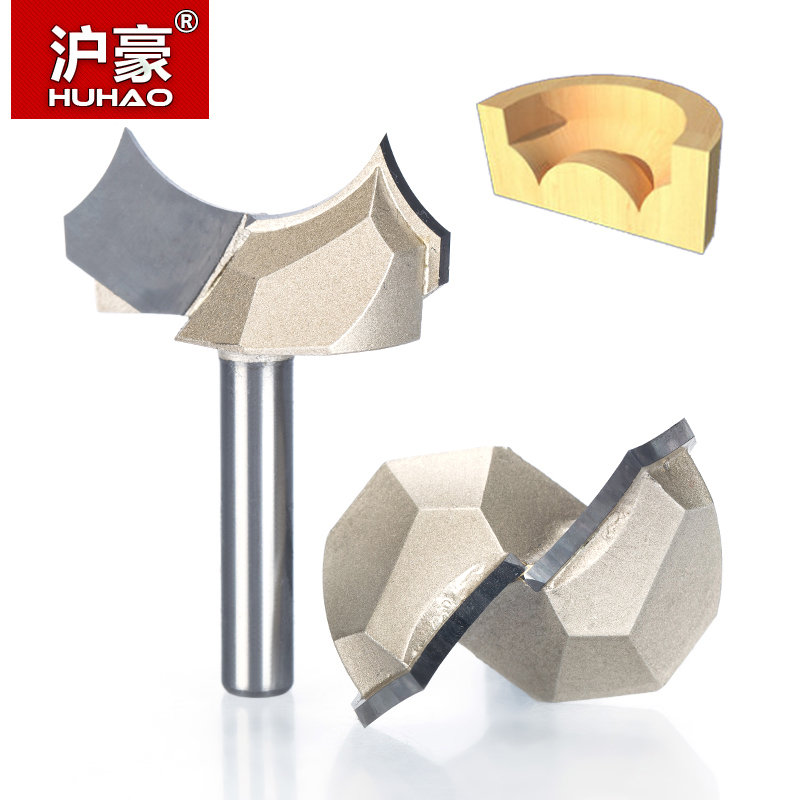 HUHAO 1pcs 1/2 1/4 Shank Round Over Groove Bits router bits for wood engraving cutter woodworking Dragon Ball Bit Point-cut high grade carbide alloy 1 2 shank 2 1 4 dia bottom cleaning router bit woodworking milling cutter for mdf wood 55mm mayitr