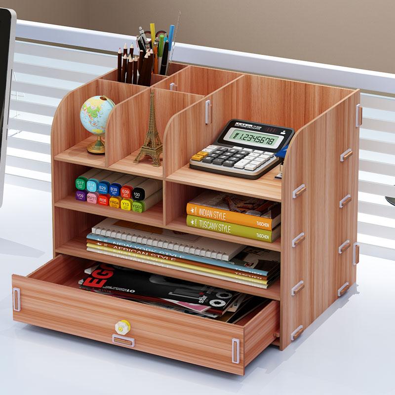 Wooden Desktop Desk Storage Box Office Rack Simple File Storage Creative Multifunction Drawer Finishing Box