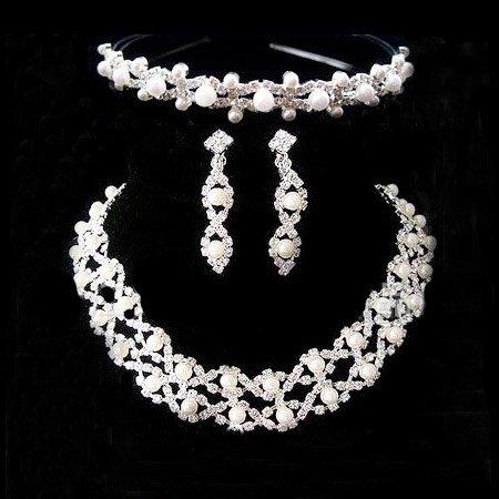 A018-3 Coroa Tiara brincos Neckace Jóias conjuntos de Strass Cristal Para As Mulheres Presentes de Casamento Por Atacado O-Q-TZ027-27 ABC