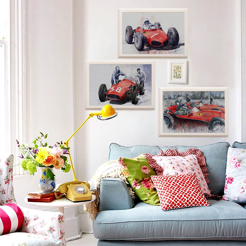 Amazing Home Decor: 3PCS Home Decor Fast Amazing Red Race Car Wall Painting