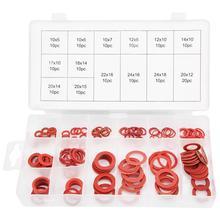 Прокладка 150 шт 14 размеров красная сталь бумажные волокна Плоские Шайбы Комплект изоляции шайба Ассорти набор с коробкой уплотнительные кольца уплотнения