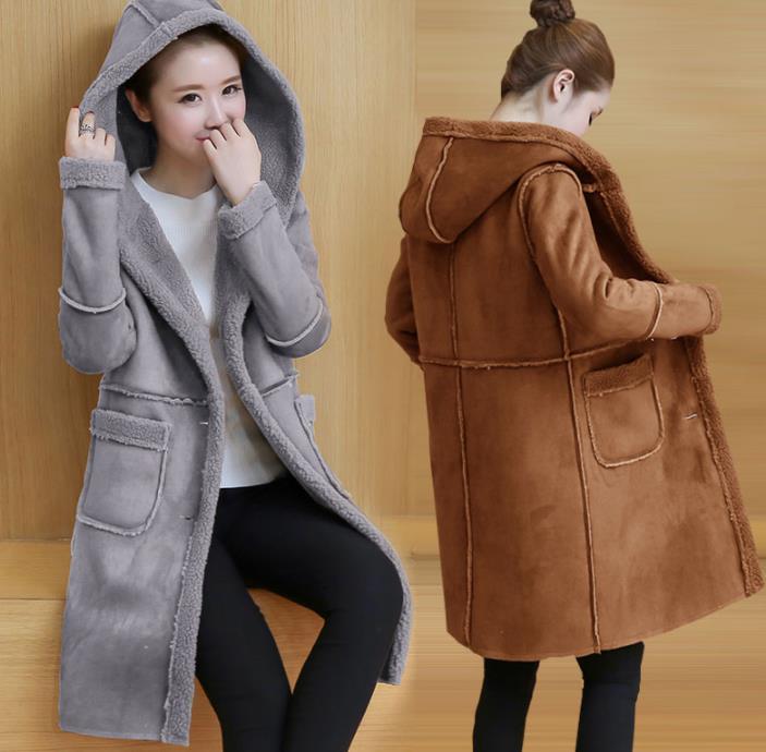 2019 зимнее женское пальто из искусственной овечьей шерсти с капюшоном, женские пальто средней длины из овчины, Кожаные Куртки из искусственной замши