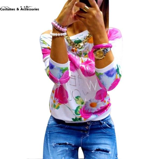 2016 Мода Осень Девушки Женщин С Длинным Рукавом Цветочный Принт Футболки Шеи Экипажа Повседневная Топы
