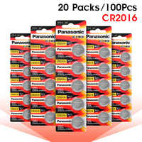 PANASONIC 100Pcs 3V CR2016 LM2016 BR2016 DL2016 KCR2016 Button Coin Cell Lithium Battery Calculator Toy Medical Device Batteries