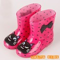 Baby Boots Kid Rain Boots With Cartoon Printing Girls Children Rain Shoes Bow Waterproof Child Rubber Boots Infant shoe KH079