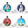 2016 new arrived Elsa Anna Olaf Fever Pendant Necklace Cartoon Jewelry Girl Round Glasses Necklace Women Girls Gift For Kids
