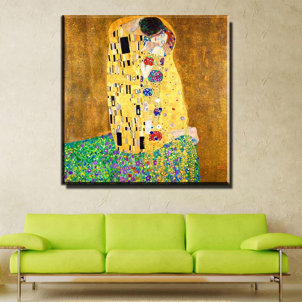 Hot Sale Xh2423 Klimt Canvas Art Prints Poster The Kiss Most