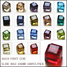 Free Shipping! AAA Crystal Spacer Beads Cube Mixed 6x6mm Cross Hole 100PCs (AAA1966M)