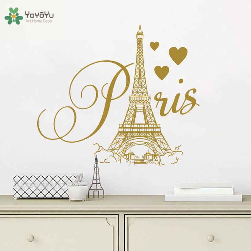 City Theme France Vinyl Sticker for Bedroom Removable Famous Paris Tower  Wall Stickers Art Mural Home Decor Interior PosterZW154