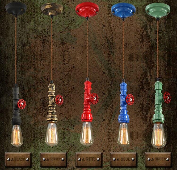 Vintage E27 Loft rétro corde de chanvre industrielle en fer forgé rustique tuyau d'eau lampe pendante cordon lampe pendante pour chambre