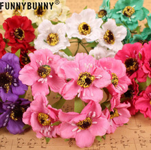 FUNNYBUNNY 6pcsArtificial Poppies Camellia Silk 5cm Artificial Flowers Corn Poppy Hand Made Small Wedding Decor