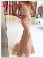 2018 Prom Dresses Mermaid Deep V neck Appliques Lace Women Party Maxys Long Prom Gown Evening Dresses Robe De Soiree