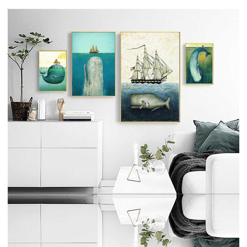 Nordic Art Poster Art Canvas Art Pictures Painting The Whale Biggest Animal But Lovely For Home Wall Picture Printed On Canvas